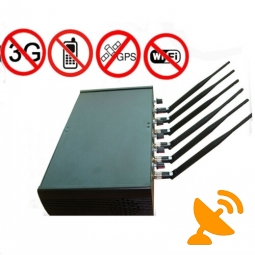 6 Antenna High Power Adjustable Cell Phone + GPS + Wi fi Jammer