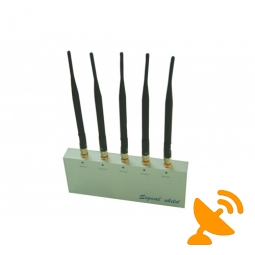 Remote Control Cell Phone Signal Blocker Jammer 5 Antenna